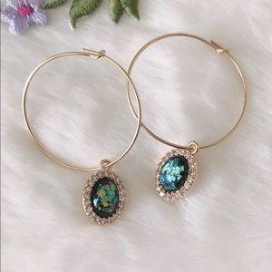 🦋14k gold Abalone Shell Hoop Earrings